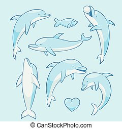 Dolphins vector set