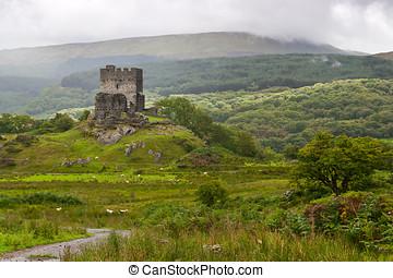 dolwyddelan, castillo, en, snowdonia, gales