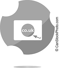 domäne, co.uk, zeichen, icon., vereinigtes königreich, internet, subdomain, symbol