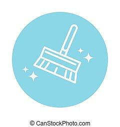 doméstico, ícone, bloco, estilo, limpeza, serviço, escova, higiene, cor