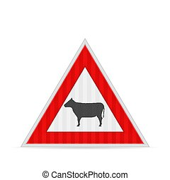 doméstico, camino, animales, señal