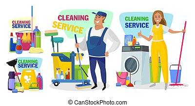 doméstico, limpeza, serviço, cartaz, conceito