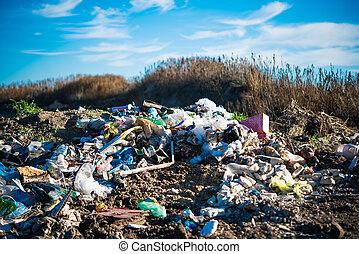 doméstico, pila, basura