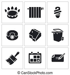 doméstico, utilidades, vetorial, problemas