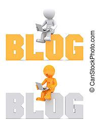 domínio, sentando, sinal., personagem, blog, 3d