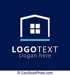 domů, čtverec, emblém, ikona, vektor, šablona