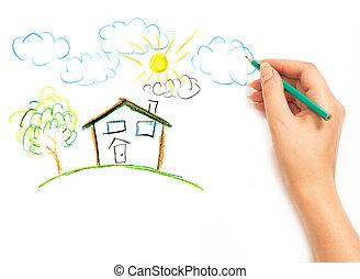 domů, eny, sen, kreslení, rukopis