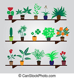 domů, houseplants, a, květiny, do, hrnec, dále, ta, police, eps10