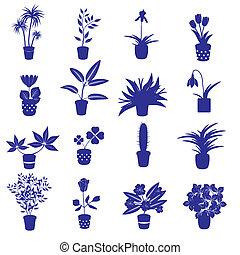 domů, houseplants, a, květiny, do, hrnec, eps10