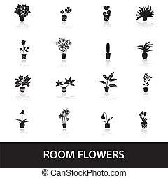 domů, houseplants, a, květiny, do, hrnec, ikona, eps10