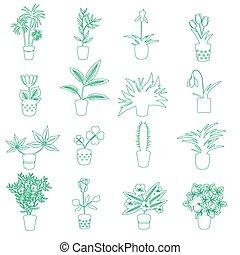 domů, houseplants, a, květiny, do, hrnec, nárys, ikona, eps10