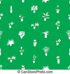domů, houseplants, a, květiny, do, hrnec, nezkušený, model, eps10