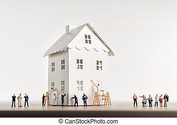 domů, pod, právě rodinný, konstrukce, čelo, stálý, jejich