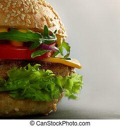domů rozeznat, chutný, burgers
