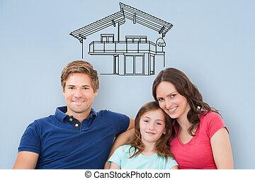 domů, sedění, pohovka, rodina