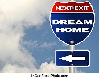 domů, sen, cesta poznamenat