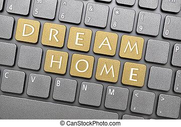 domů, sen, klapka, klaviatura