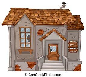 dom, ściany, stary, zrujnowany