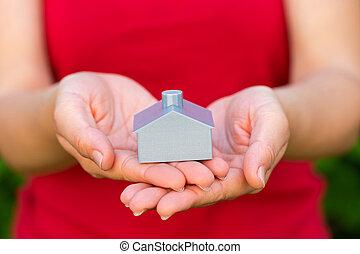 dom, 3d, drukowany, samicze ręki