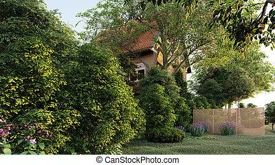 dom, 3d, przedstawienie, ogrodowy angielski