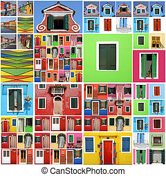 dom, abstrakcyjny, burano, barwny, próbka