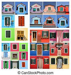 dom, abstrakcyjny, burano, barwny