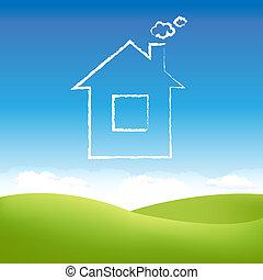 dom, abstrakcyjny, niebo