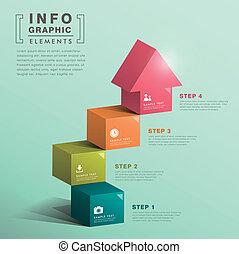 dom, abstrakcyjny, sześcian, schodek, infographics