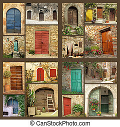 dom, abstrakcyjny, -, wiejski, dużo, wizerunki, skład