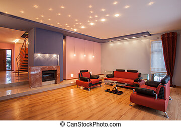 dom, amarant, -, pokój, żyjący
