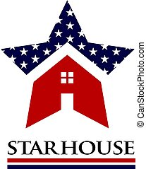 dom, amerykanka, gwiazda, ilustracja, logo
