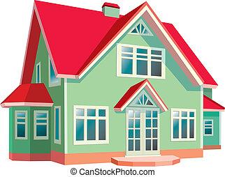 dom, białe tło, dach, czerwony