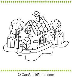 dom, biały, czarnoskóry, ilustracja