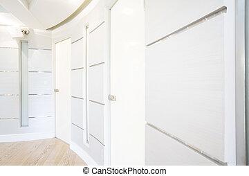 dom, biały, nowoczesny, korytarz