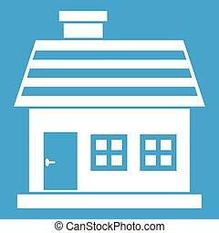 dom, biały, one-storey, ikona