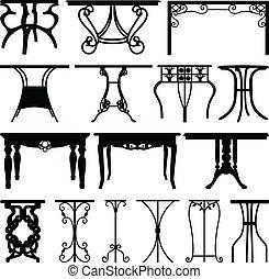 dom, biurko, meble, projektować, stół
