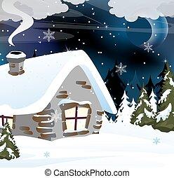 dom, cegła, las, śnieżny