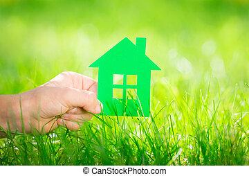 dom, children`s, ręka