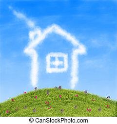 dom, chmury