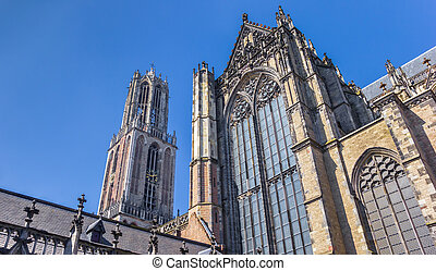 Dom church and tower in the historic center of Utrecht