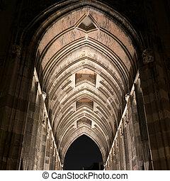 Dom church tower tunnel by night in Utrecht, Netherlands