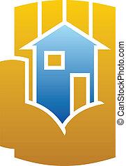 dom, cupped, ikona, ręka