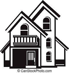 dom, czarnoskóry, ikona