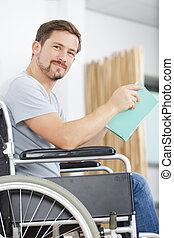 dom, czytanie książka, wheelchair, człowiek