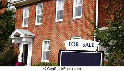 dom dla sprzedaży, z, znak, wobec