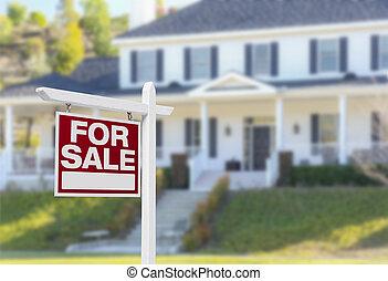 dom, dla sprzedaży znaczą, przed, nowy dom