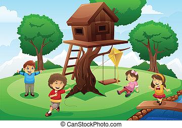 dom, dzieciaki, drzewo, grając dokoła
