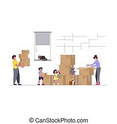 dom, dzieciaki, ruchomy, rodzina, nowy