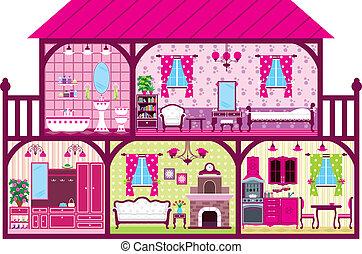 dom, dziewczyna, cięty