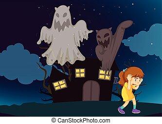 dom, dziewczyna, nawiedzany, noc